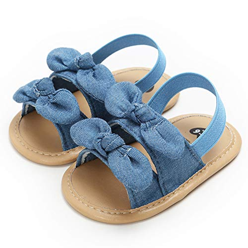 Infant Baby Girls Summer Sandals with Flower Soft Sole Newborn Toddler First Walker Crib Dress Shoes(0-18 Months),12-18 Months M US Infant,E-Denim Baby Girl Sandals ()