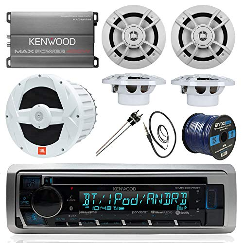 - BOAT SOUND SYSTEM PACKAGE: Kenwood Marine Bluetooth Receiver + Kenwood Compact 4-Ch Amp, + 4 6.5 Inch Marine Speakers + Kenwood 10