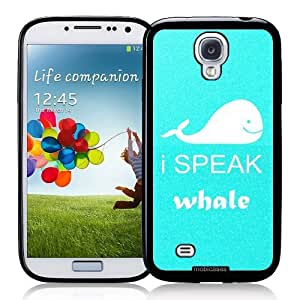 Cool Painting I Speak Whale - Protective Designer BLACK Case - Fits Samsung Galaxy S4 i9500