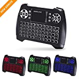 (Updated 2018, 3-Color RGB) Backlit Wireless Mini Keyboard with Touchpad Mouse and Multimedia Keys, 2.4Ghz USB Rechargable Handheld Remote Control Keyboard for PC, HTPC, X-BOX, Android TV Box,Smart TV