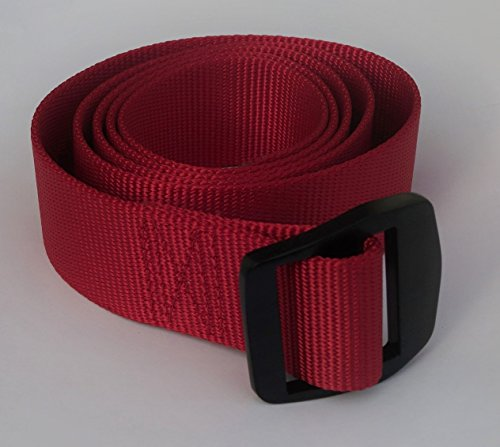 Military Style webbing Camp Belt by BootYo! Unisex nylon web belt tactical webbing with aluminum buckle - Cool Red Buckle Black Belt