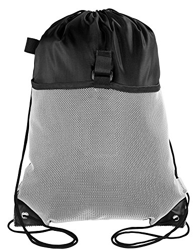 Mato & Hash Drawstring Cinch Bag Backpack With Mesh Pocket Tote Sack 100PK Black by Mato & Hash