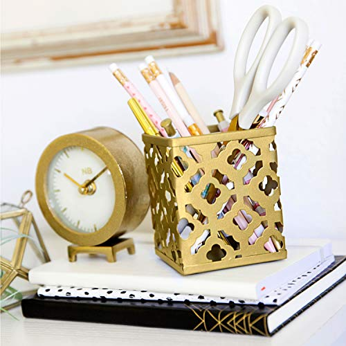 Blu Monaco Gold Desk Organizer for Women - 3 Piece Desk Accessories Set - Pen Cup, Magazine-File-Mail Holder, and Accessories Tray - Antique Gold Brass Finish Office Supplies Stationery Decor by Blu Monaco (Image #5)'