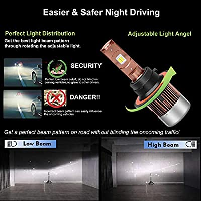 H13 LED Headlight Bulbs, High and Low Beam Headlamp 9008 Bulbs All-in-One Conversion Kit Extremely Bright 6000K White 8000LM …: Automotive