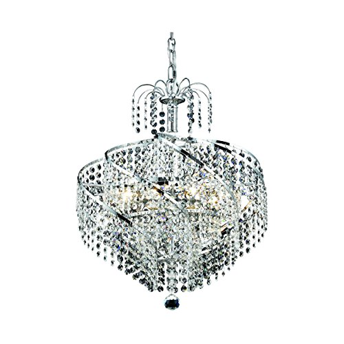 Elegant Lighting 8052D18C/SA Spiral Collection 8-Light Hanging Fixture with Spectra Swarovski Crystal, Chrome Finish ()