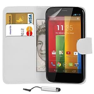 Mobi Plus Motorola Moto T Cartera de cuero del caso del tirón de la cubierta Pouch + Mini Touch Stylus Pen + 2 x Protector de pantalla y paño de pulido (blanco)