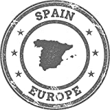 Spain Map Europe Grunge Rubber Stamp Home Decal Vinyl Sticker 12'' X 12''