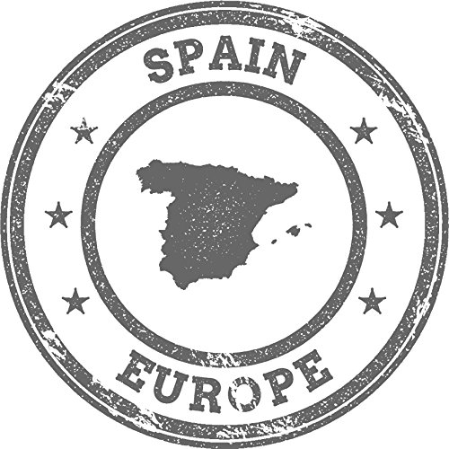 Spain Map Europe Grunge Rubber Stamp Home Decal Vinyl Sticker 12'' X 12'' by innagrom