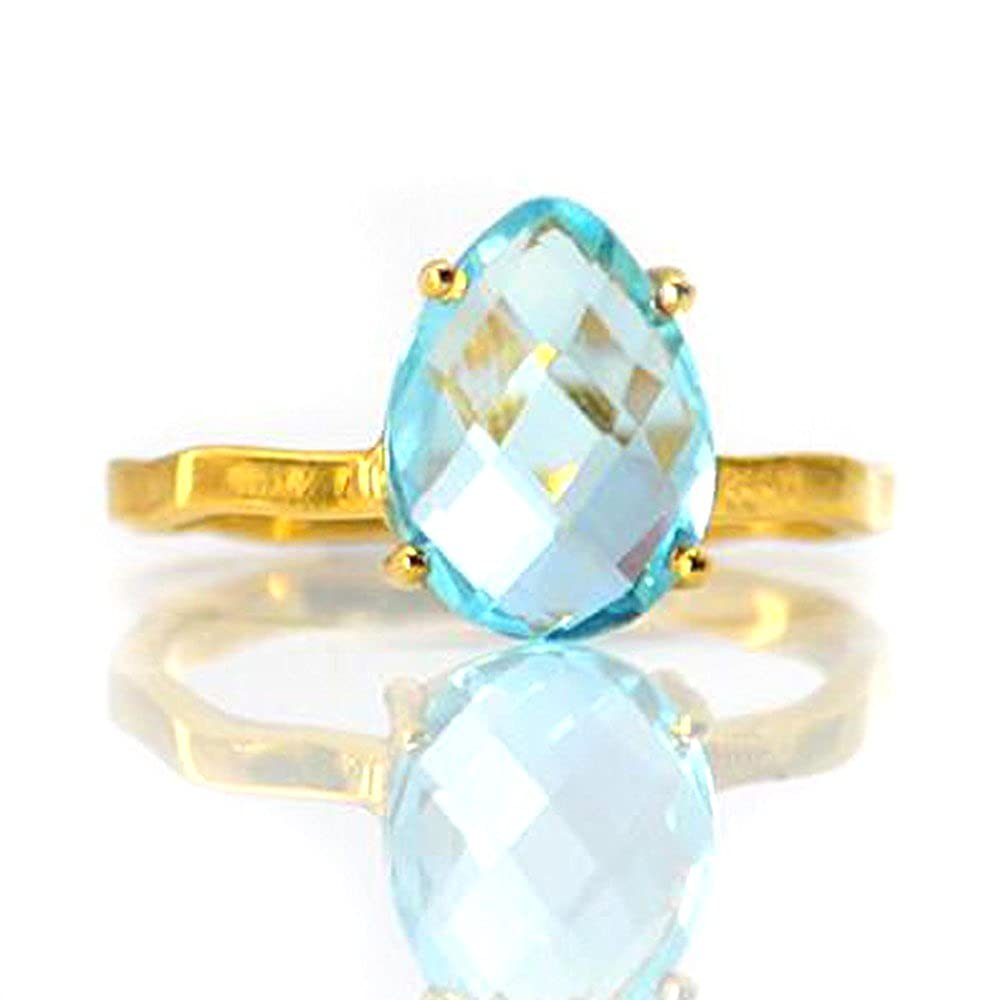Nathis Blue Topaz Teardrop Cut Prong Set Ring