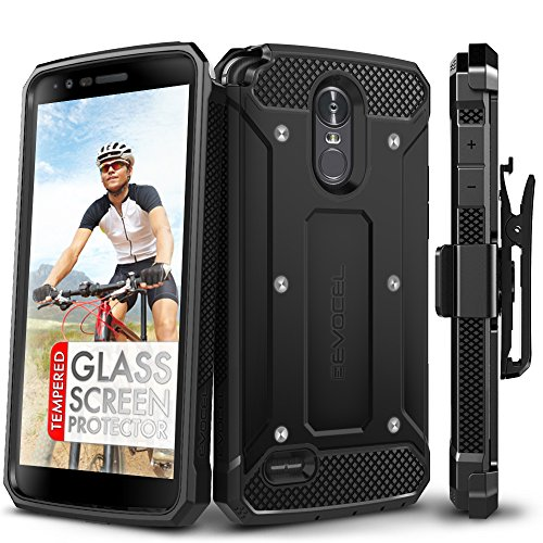 LG Stylo 3 Case, Evocel [Explorer Series] with FREE [LG Stylo 3 Glass Screen Protector][Full Screen Coverage] Premium Full Body Case [Slim Profile][Belt Clip] For LG G Stylo 3 (2017 Release), Black