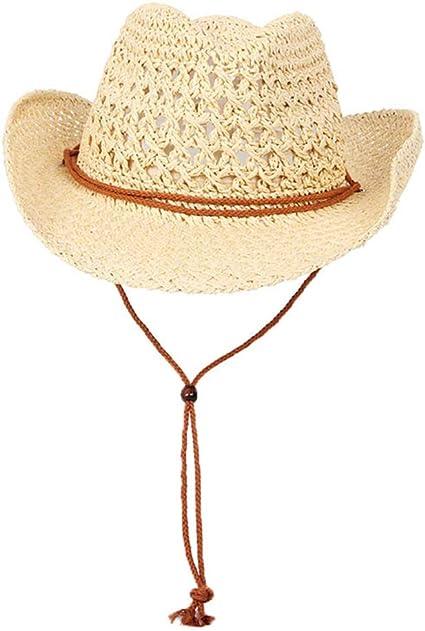 LTSWEET Cowboy Strohhut Herren Damen Cowboyhut Western Sonnenhut Strand Kappe Breiter Krempe Sommer Sonnenschutz Outdoor Camping mit Kinnriemen Natur