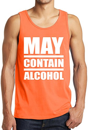 0c05a8f7029aa4 StreetViewTees Gym Work Out Shirt May Contain Alcohol Tank Top Neon Orange  XL