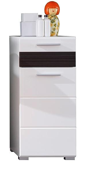 Trendteam Badezimmer Kommode Schrank Mezzo, 37 x 79 x 31 cm in Weiß ...