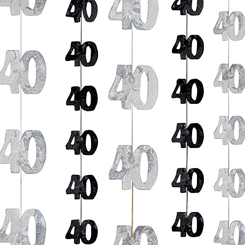 UNIQUE PARTY Silver 40th Birthday/Anniversary Hanging String Decorations (One Size) (Silver/Black)