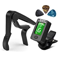 Guitar Tuner and Guitar Capo Set, Clip-On Tuner Digital Electronic Tuner Acoustic with LCD Display for Guitar, Bass, Violin, Ukulele, Banjo (Tuner + Capo)