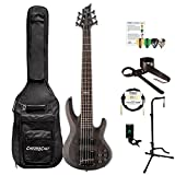 ESP LB206SMSTBLKS-KIT-1 B Series B-206SM 6-String Electric Bass Guitar, See Thru Black Satin