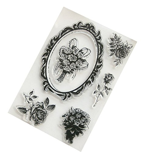 Seaskyer Rose Flower Decor Border Clear Stamps Sheet Transparent Silicone Seal For DIY Scrapbooking Craft Card Photo Album Decorative, Christmas Valentine's Day Halloween Gift -