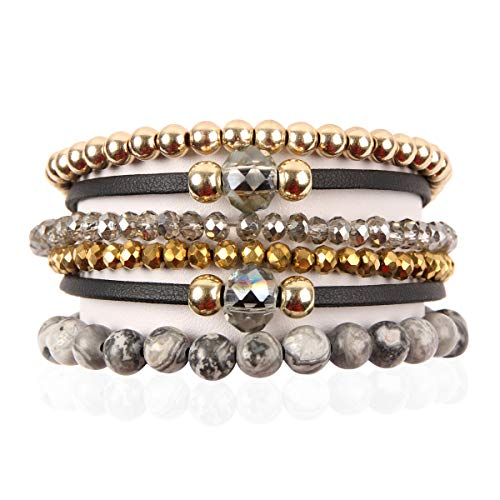RIAH FASHION Bohemian Faux Suede Leather Wrap Multi Layer Bracelet - Boho Wrist Adjustable Cuff Bangle Crystal Rhinestone/Metallic Bead/Natural Stone Embellishment (Natural Stone Mix - Labradorite)