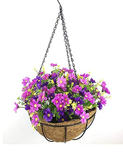 Lopkey Artificial Daisy Flowers Outdoor Indoor Patio Lawn Garden Hanging Basket with Chain Flowerpot,10 Inch