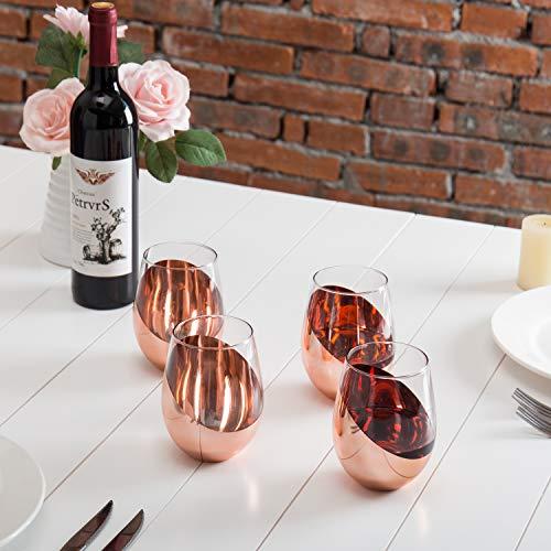 MyGift Modern Copper Stemless Wine Glasses, Set of 4