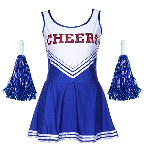 Women's One Piece Cheerleader Uniform High School Cheerleader Costume Blue, Large