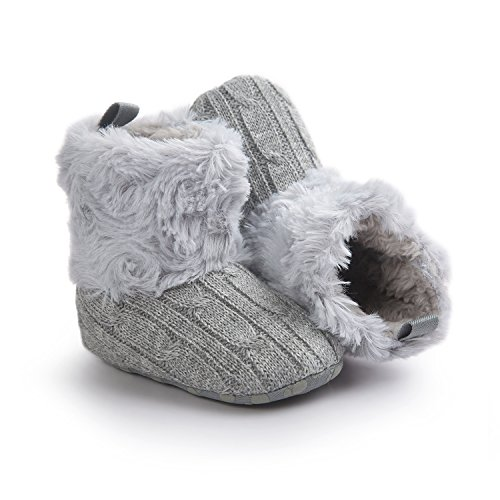 "JL bebé niñas suave con pelo botas de nieve invierno cálido antideslizante zapatos de cuna #11 Talla:Length 11cm/4.33"",Suitable Age0~6 month #12"