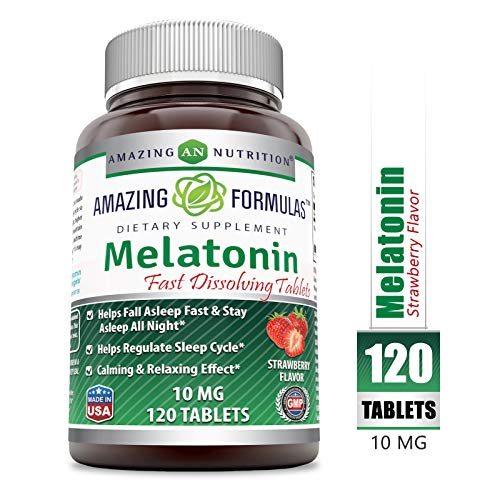 - Amazing Formulas Melatonin Quick Dissolve - 10 Mg Tablets (Non-GMO) - Helps Fall Asleep Fast & Stays Asleep All Night - Helps Regulate Sleep Cycle - Calming & Relaxing Effect (120 Tablets, Strawberry)