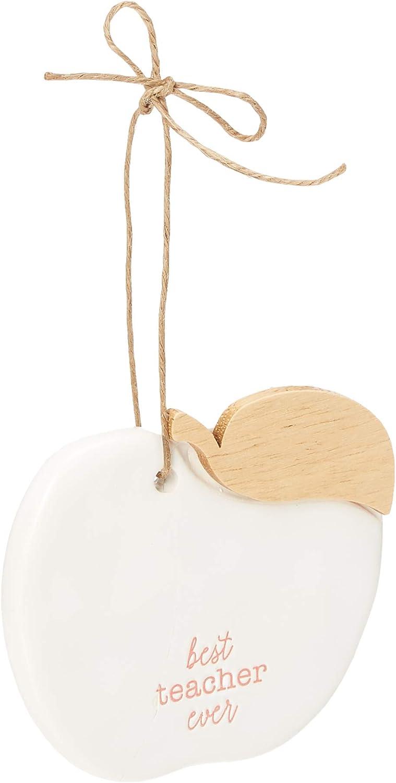 Mud Pie Best Ceramic Apple Christmas Tree Teacher Ornament, White