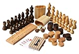 Offex Transitional Carved Wood Game Pieces Set