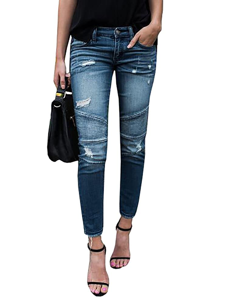 bluee Lynwitkui Womens Destroyed Ripped Holes Skinny Jeans Leggings Mid Rise Stretchy Straight Leg Slim Fit Denim Pants