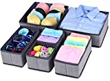 Homyfort Foldable Cloth Storage Box Closet Dresser Drawer Organizer Cube Basket Bins Containers Divider with Drawers for Underwear, Bras, Socks, Ties, Scarves, Set of 6,Grey with Pattern