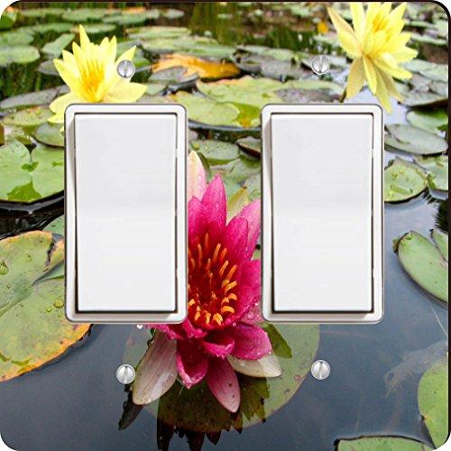 Yellow Waterlilly Light (Rikki Knight 9200 Double Rocker Pink & Yellow Waterlillies Gorgeous Colors Design Light Switch Plate)