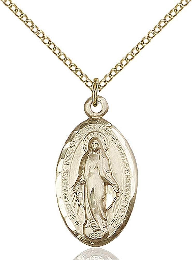 14kt Gold Filled Miraculous Pendant Gold Filled Lite Curb Chain Patron Saint 7//8 x 1//2