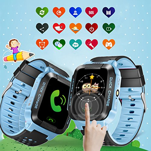 Hizek Smart Watch for Kids, GPS Tracker with SIM Calls Wireless Anti-Lost SOS Bracelet Children Girls Boys Holiday Birthday Gifts for iPhone Android Smartphone Blue by Hizek (Image #5)