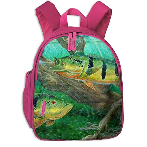 Judascepeda Girls Women Schoolbag Peacock Bass Fishing On Canvas Wallpaper Classic Children Schoolbag Backpacks Pink With Front Pockets For Youth Boy Girl