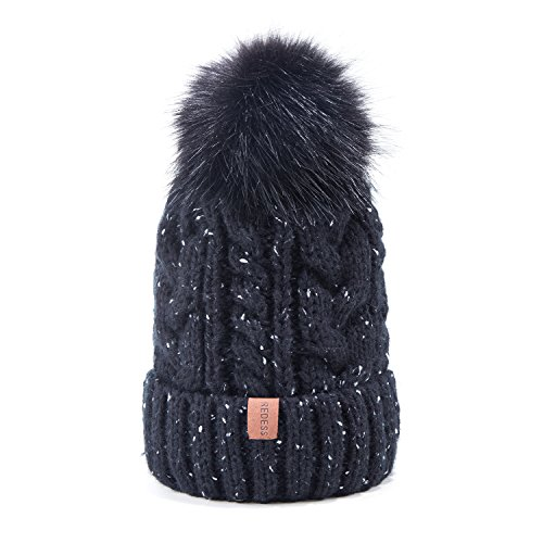 Women Winter Pom Pom Knit Beanie Warm Fleece Lined Slouchy Beanie (Large Image)