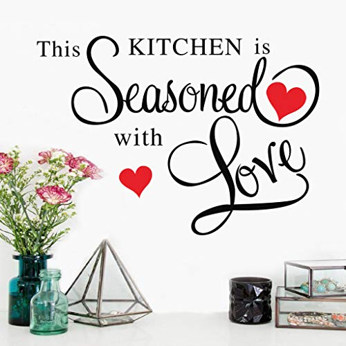 Decorative Wall Sticker Carved English - This Kitchen - Pattern Creative Stickers Wall/Waterproof/Removable/Self-Adhesive Wall Window Decoration, Vinyl Decal Background Sticker