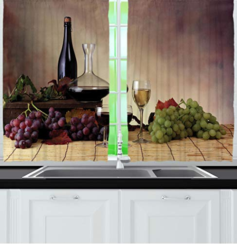 Ambesonne Tuscany Wine Farms Decor Collection, Grapes Wines Bottles Glasses Champagne Picture Artwork, Window Treatments for Kitchen Dining Room Curtains 2 Panels Set, 55