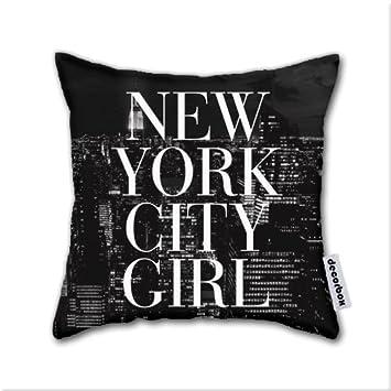Decorbox cotton linen throw pillow new york city girl black white skyline vogue typography cotton
