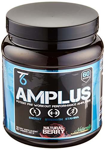 AMPLUS All Natural Pre Workout Nitric Oxide Booster with Natural Flavor and No Fillers or Dyes, Premium Non-Habit Forming Energy with Full Clinical Doses & Trademarked Ingredients, Berry - 625 Gram