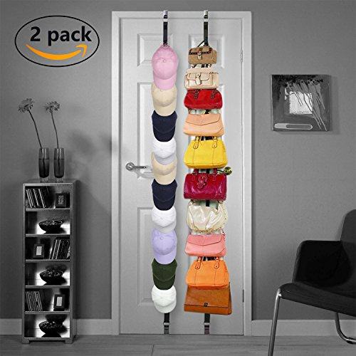 2 Pack Baseball Cap Hat Rack Holder Caprack Hat Rack Storage Storage With Adjustable Hooks 20 Caps (Black)