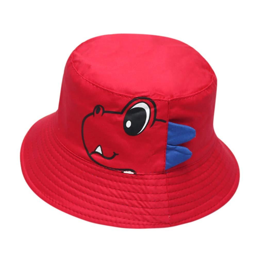 Rose fragrance Childrens Soft Cotton Sunshade Thin Section Fisherman Hat Solid Color Cartoon Dinosaur Print Sunhat