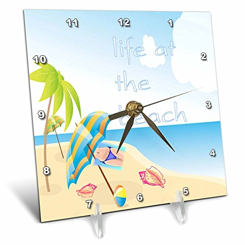 Florene Beach And Sunset Art - Image of Life At The Beach With Shells Palm And Bikini - 6x6 Desk Clock (dc_237046_1)
