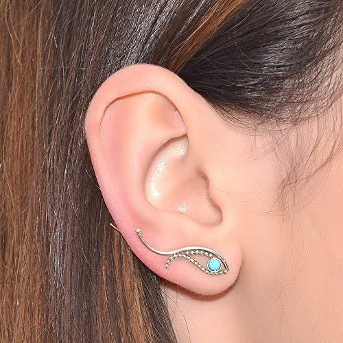 Earrings Garnet 3mm Post - 3mm Turquoise Ear Climber Earring Silver/Post Earrings, Stud earrings