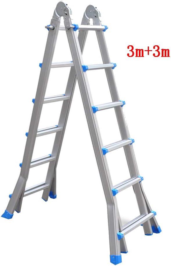 CAIJUN Escalera Telescópica Multifunción Plegable Portátil Desmontable Espesar Aleación De Aluminio La Seguridad, 4 Tamaños (Tamaño : D-3m+3m): Amazon.es: Hogar