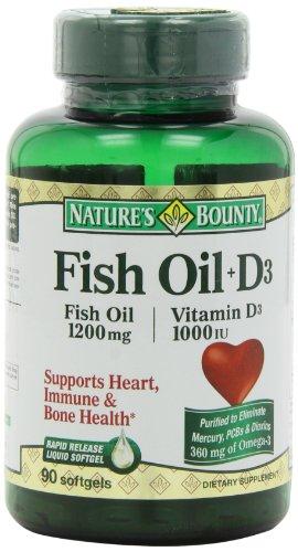 Bounty Omega 3 plus D3 Nature Huile de poisson 1200 mg de vitamine D 1000 UI Softgels 90 gélules