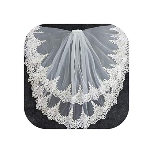 Two Layer White Ivory Tulle Bridal Veil Lace Edge Short Wedding Veils - Series Gold Kona