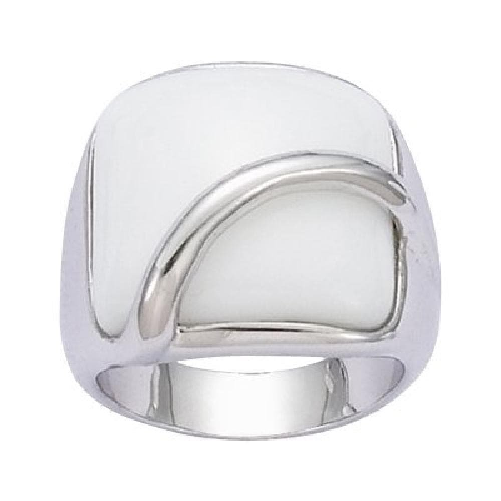 So Chic Jewels - 925 Sterling Silver White Glass Band Ring - Size 7.5