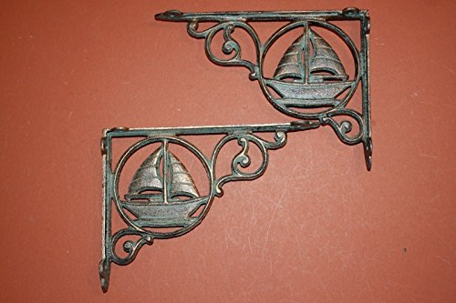 - Southern Metal Antique-style Sailboat Shelf Brackets Bronze-look Cast Iron 9