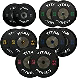 340 LB Set of Titan Elite Olympic Bumper Plates (Black w/ Colored Lettering)